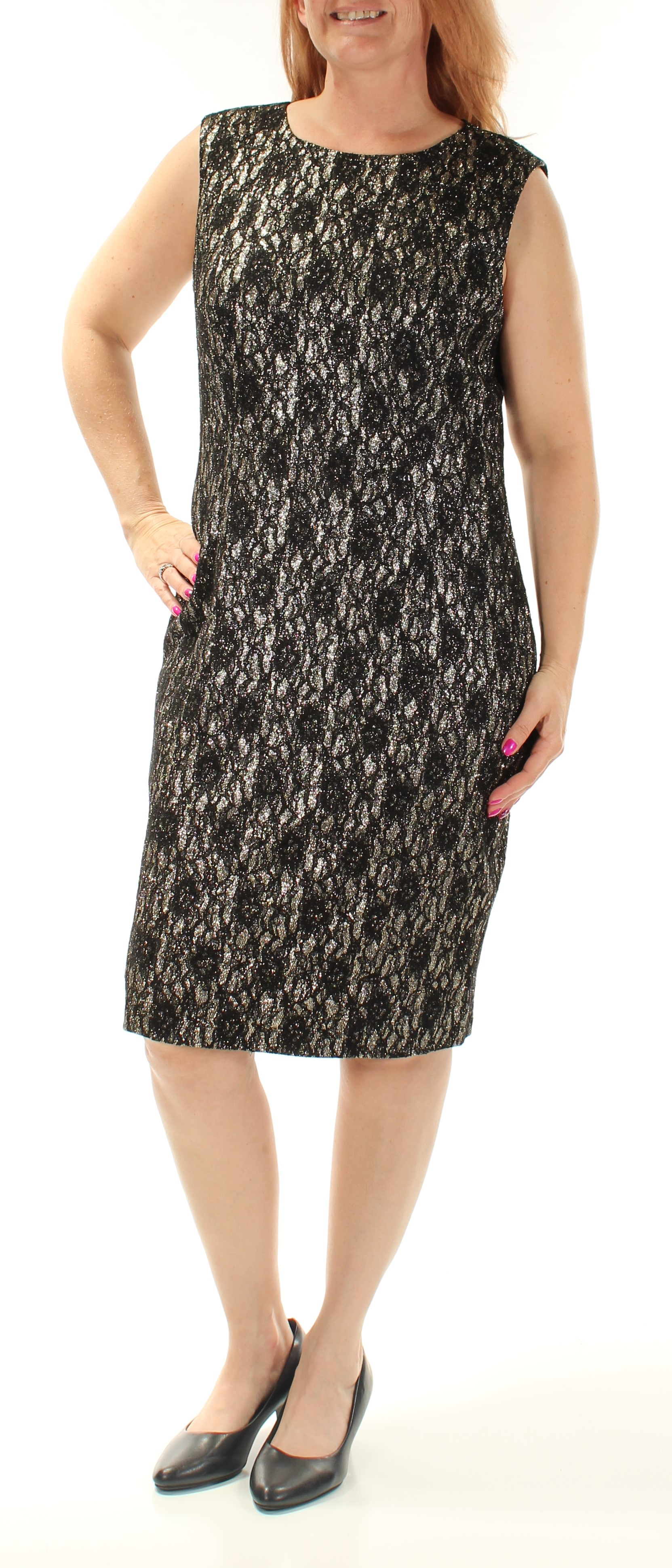 be378693 TAHARI $138 Womens New 1428 Gold Lace Glitter Sheath Dress B+B ...