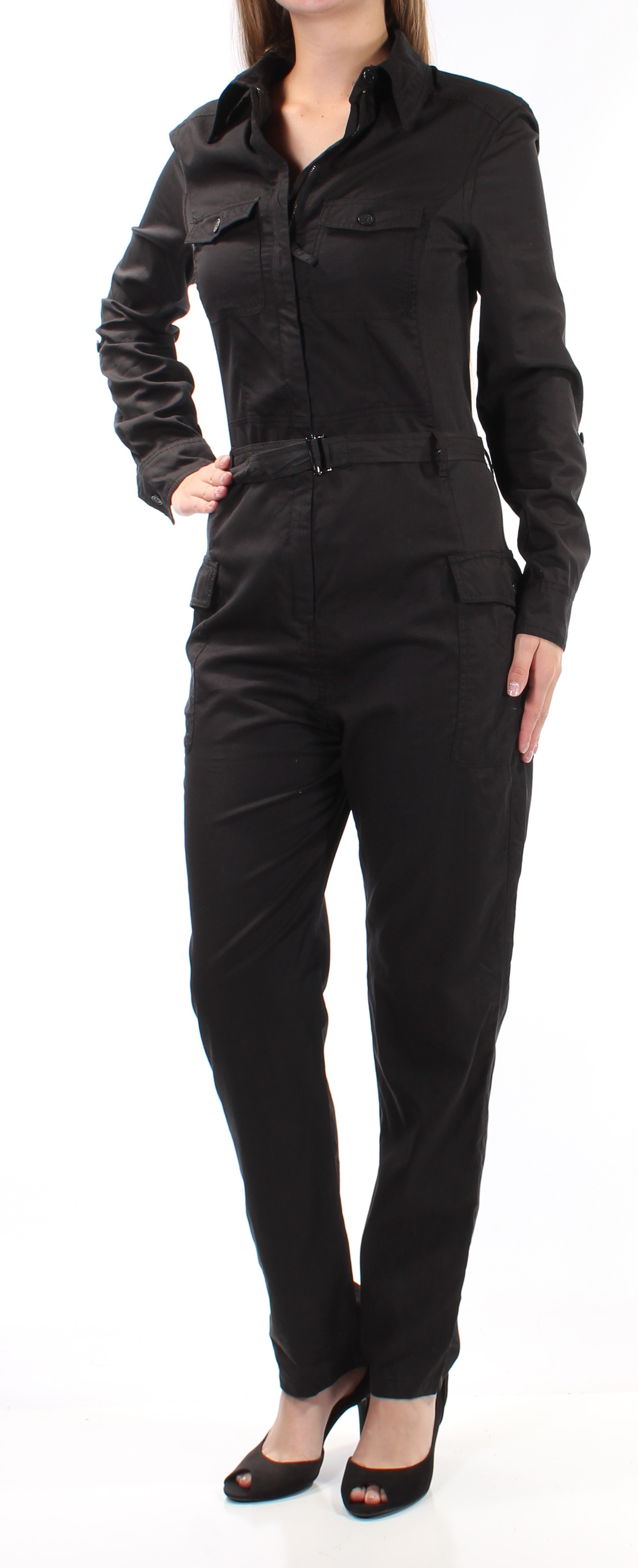 e2cb9204415 MAX STUDIO  148 Womens New 1149 Black Belted Collared Button Up Jumpsuit XS  B+B