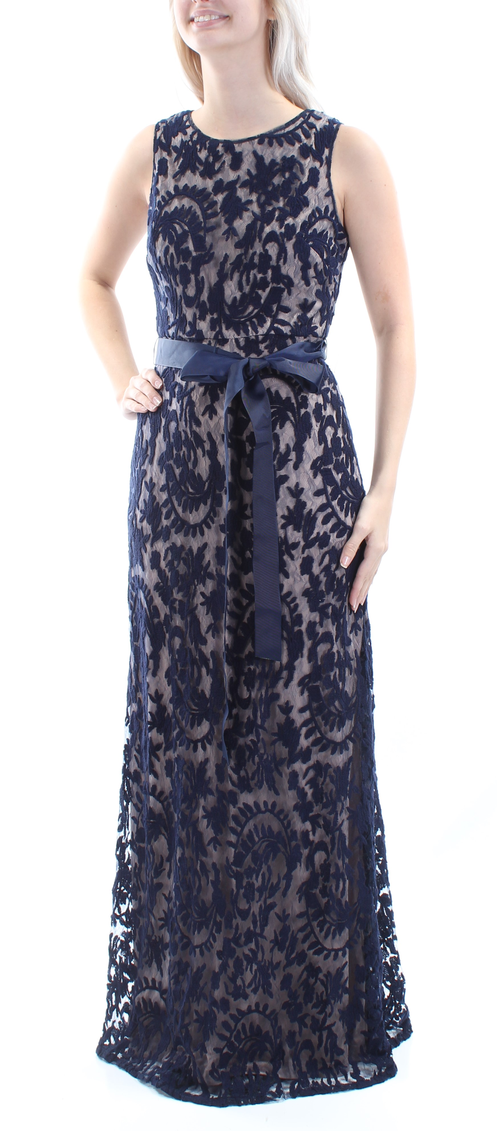ADRIANNA PAPELL $199 Womens New 1348 Navy Lace Mermaid Dress 4 ...