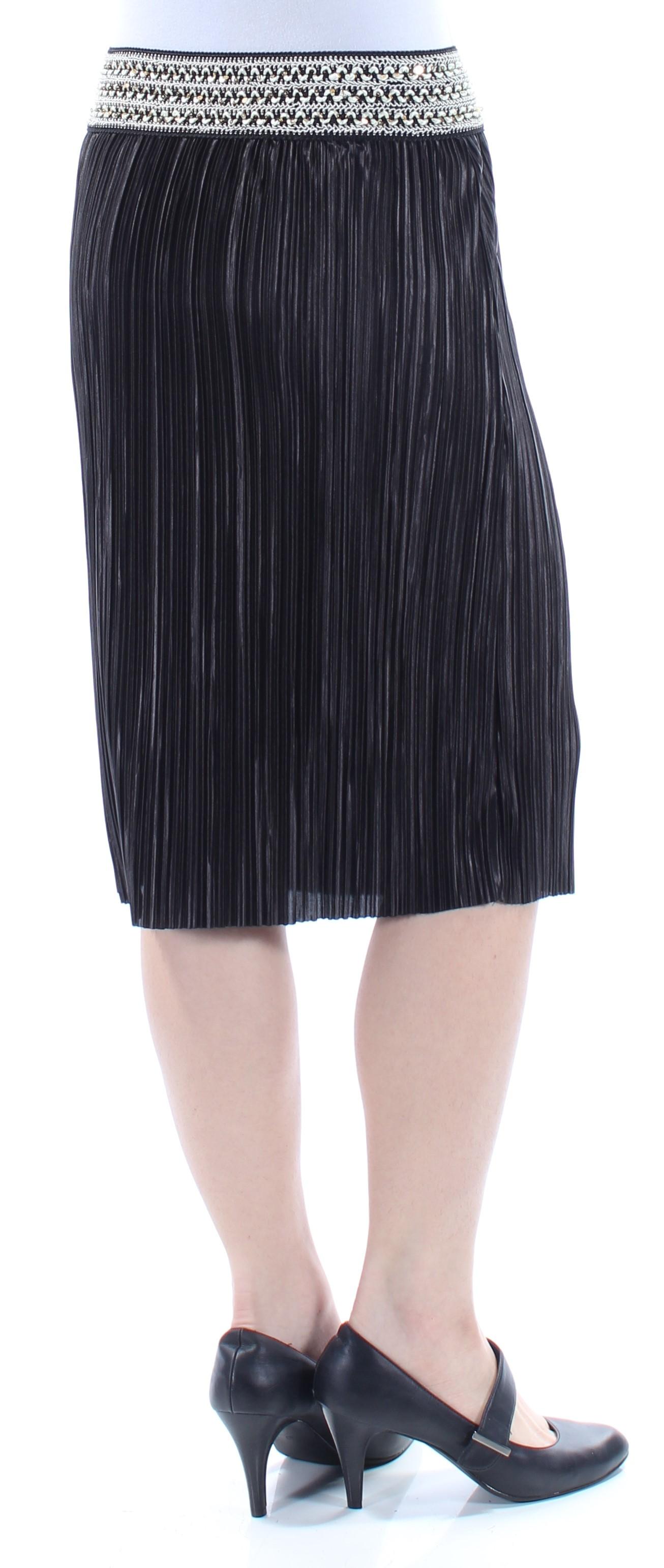 dcf6ee2cb4d1b MSK  59 Womens New 1360 Black Sequined Accordion Pleat Skirt S B+B ...