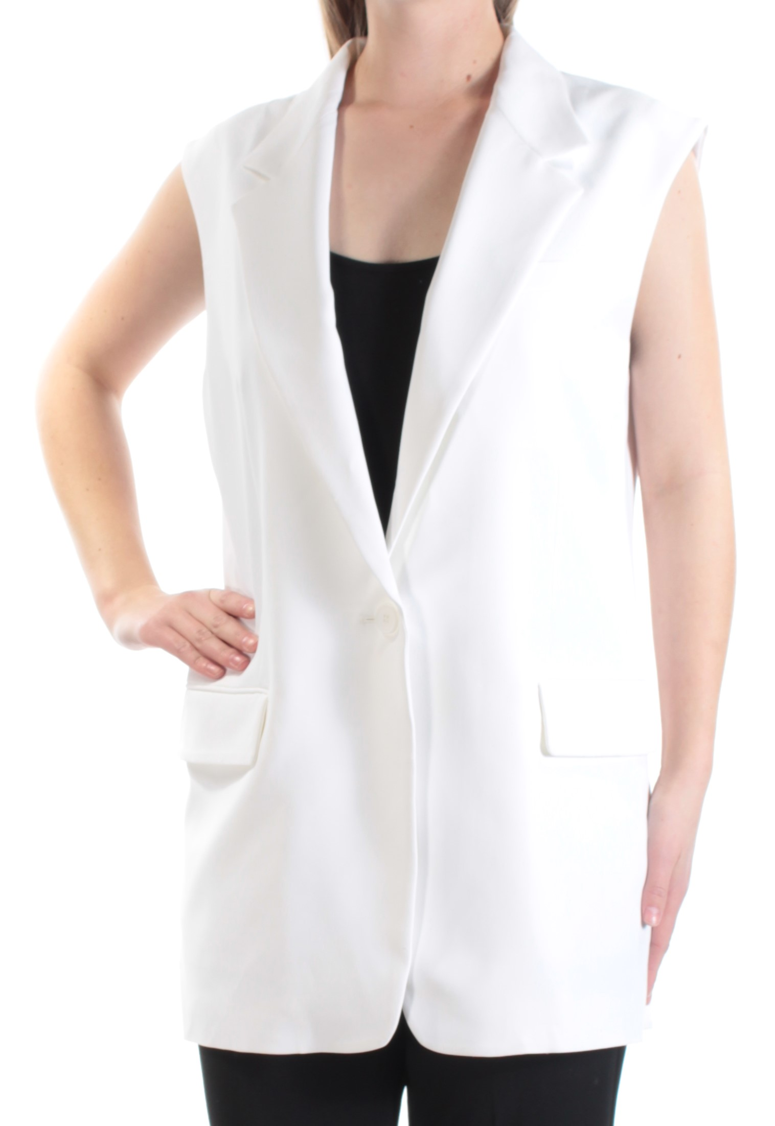56a8368b DKNY $495 Womens New 1310 White Slitted Back Collared Vest Top M B+B ...