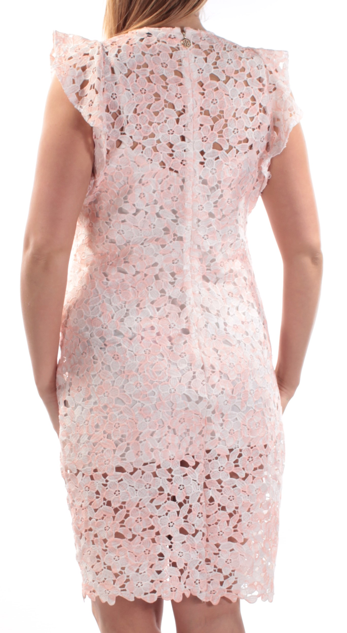 69555862bc7fe TOMMY HILFIGER  130 Womens New 1042 Pink Floral Lace Cap Sleeve ...