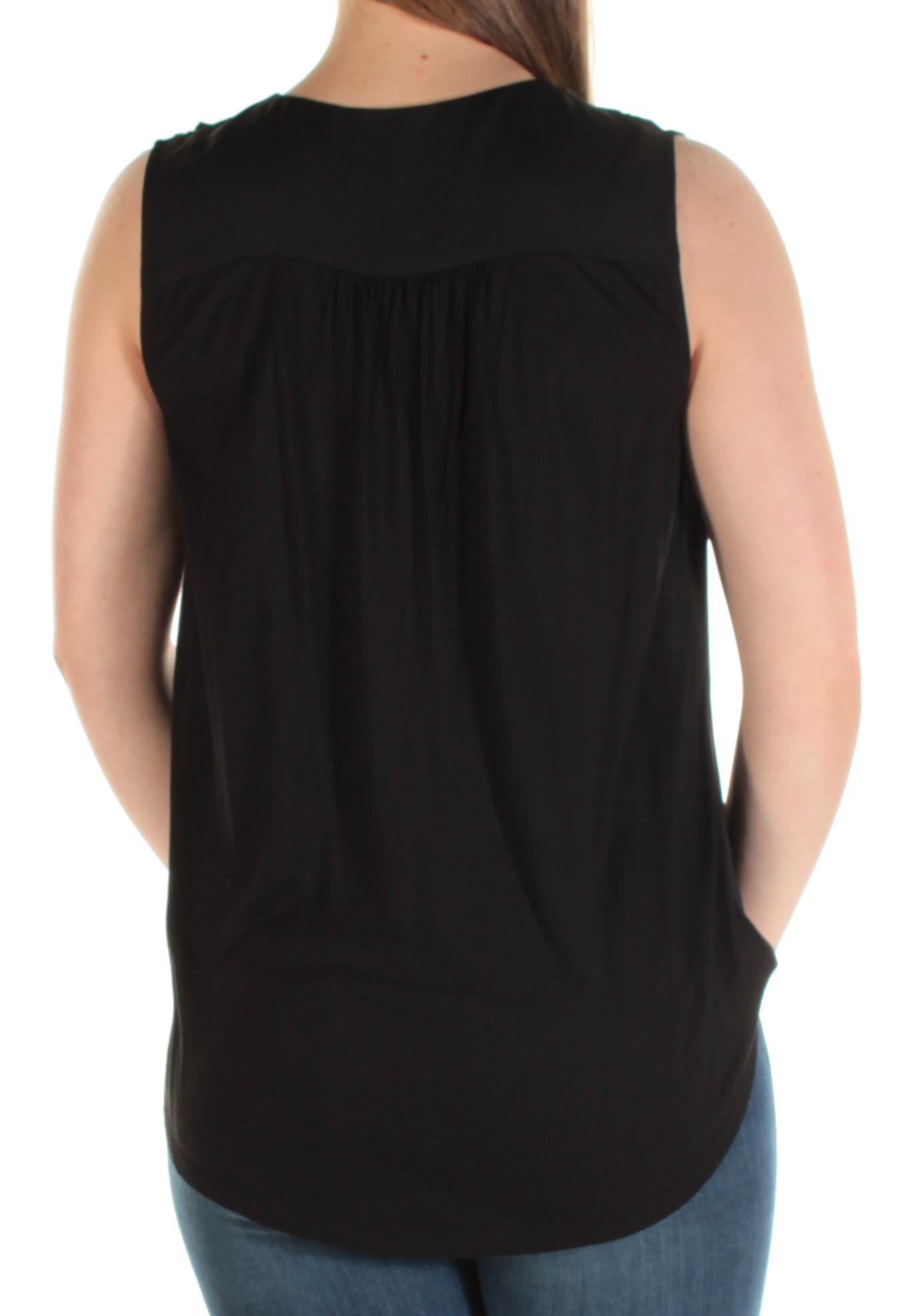 INC Womens Black Ruffled Sleeveless V Neck Casual Top M