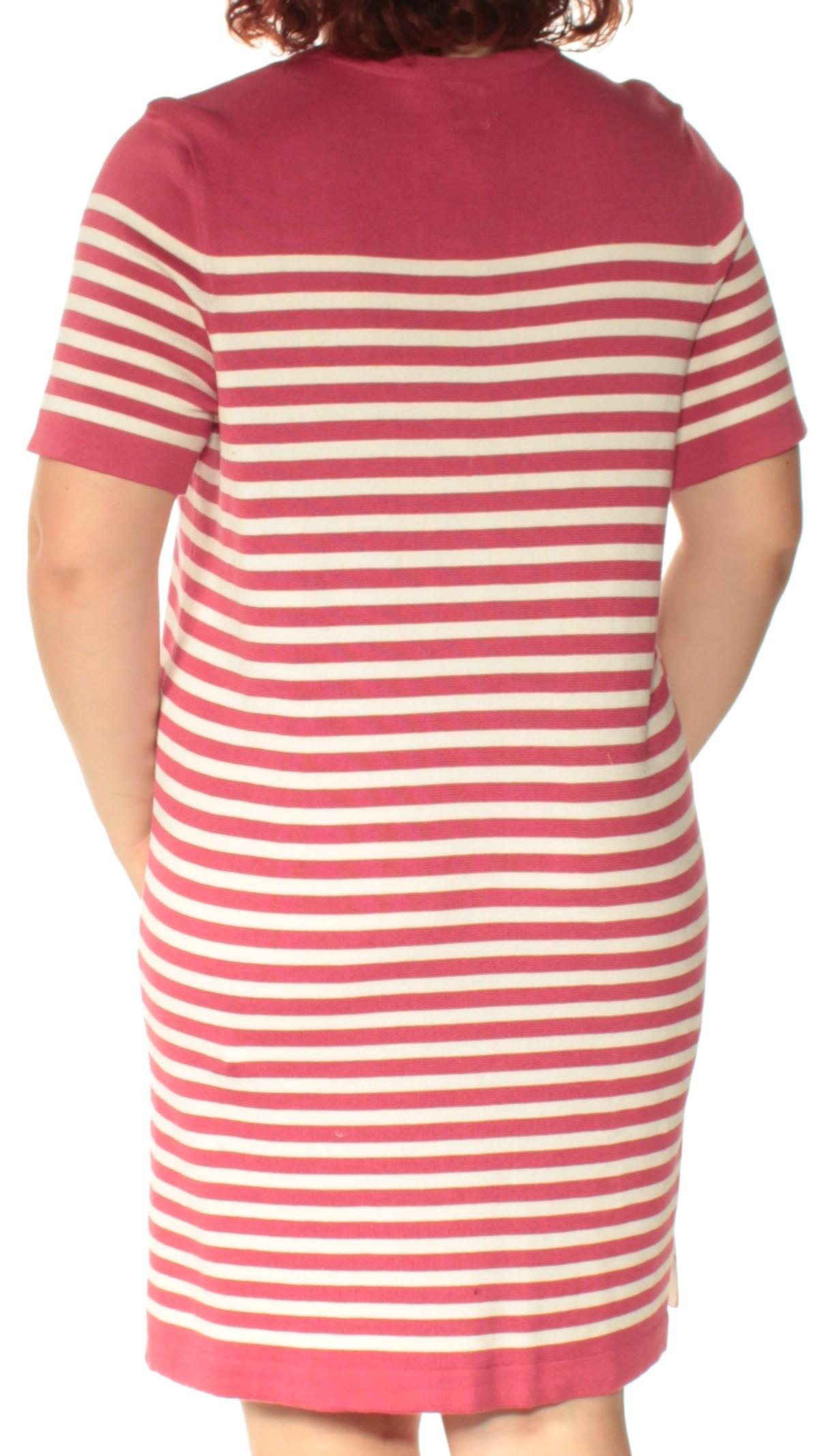 6d98f66d67 ANNE KLEIN  129 Womens New 1478 Pink Striped Short Sleeve Shift ...