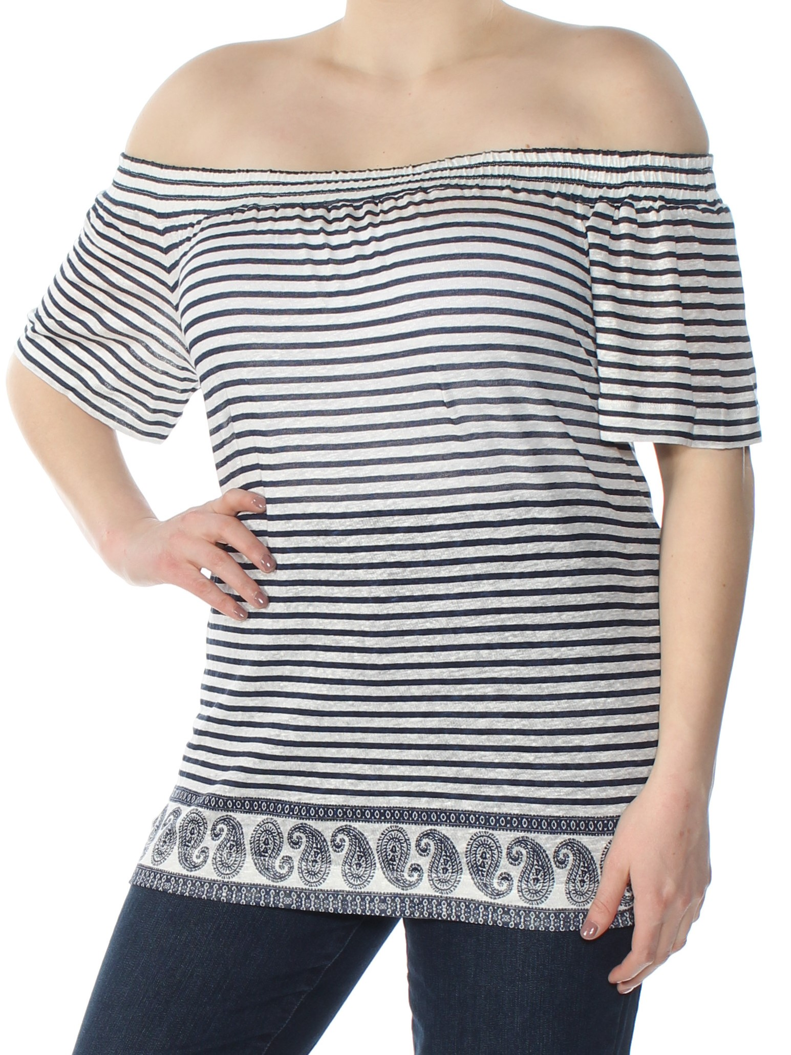 d032b526a5220 VINCE CAMUTO  89 Womens Ivory Striped Off Shoulder Short Sleeve Top 1X Plus  B+B