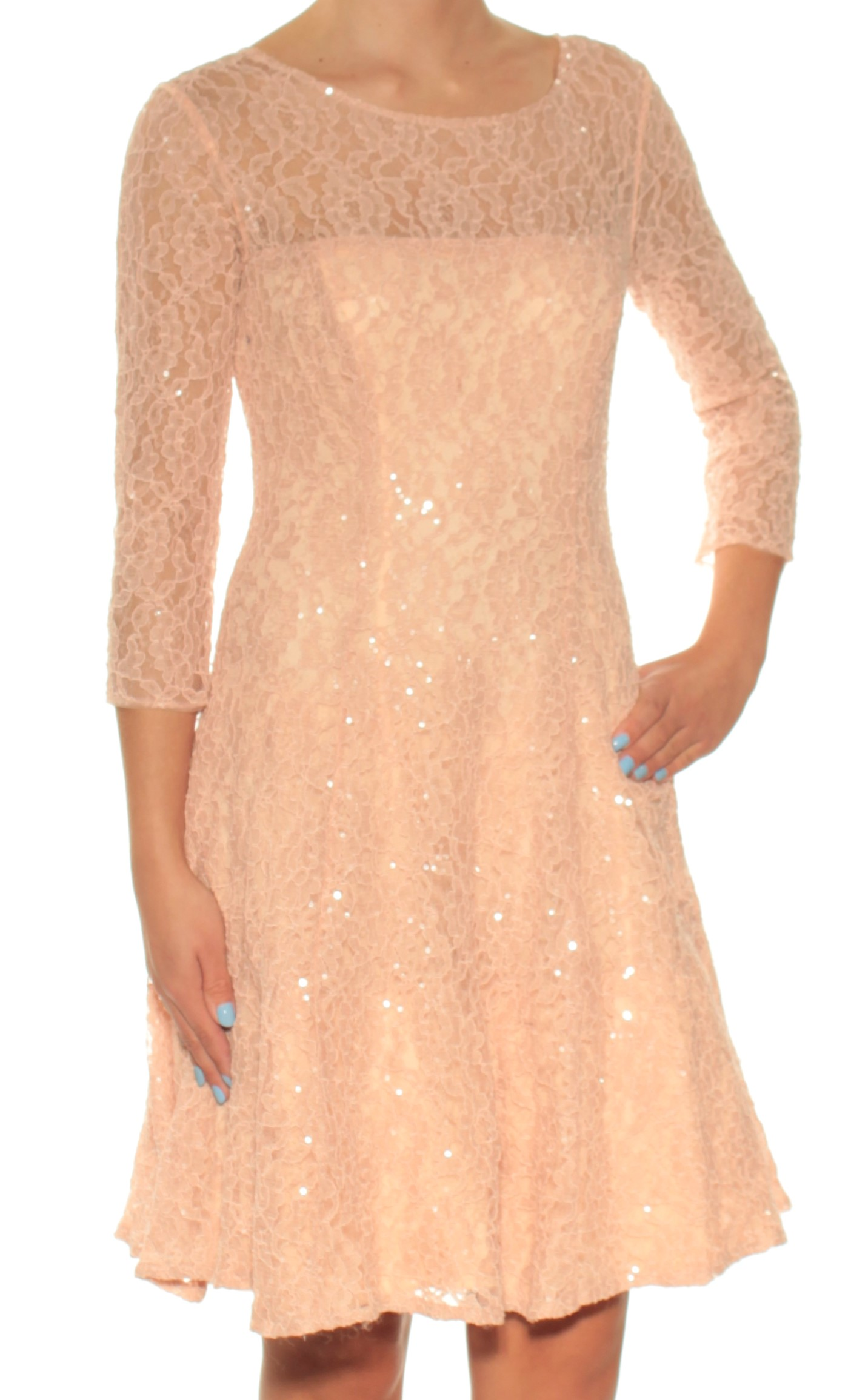 1f742a67fa SLNY Womens New 1320 Pink Lace Sequined 3 4 Sleeve Fit + Flare Dress 2 B+B