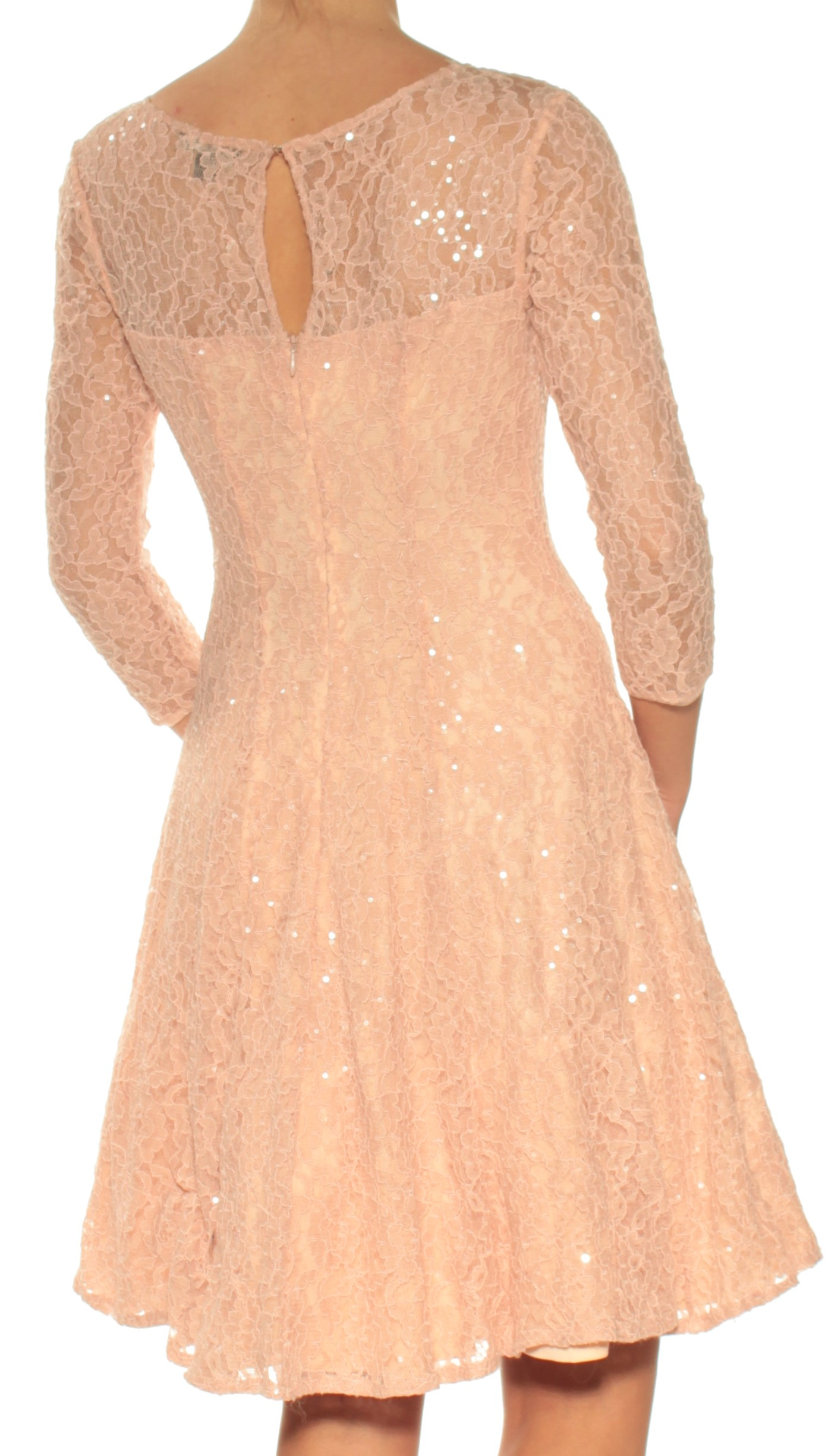 a958fb5b59 SLNY Womens New 1320 Pink Lace Sequined 3 4 Sleeve Fit + Flare Dress ...