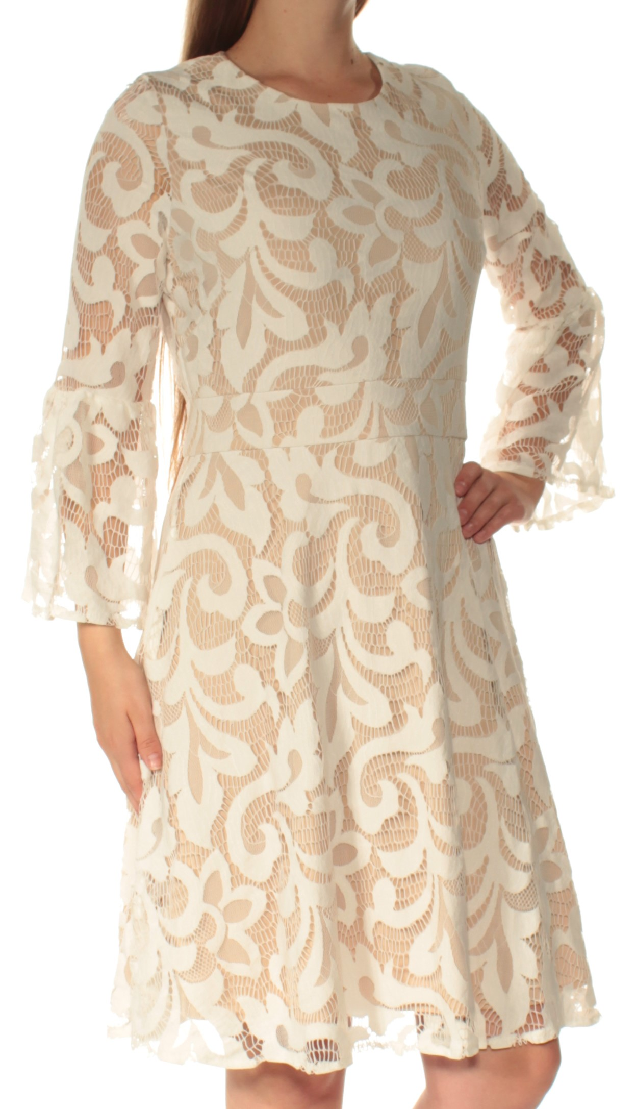 Details About Jessica Howard 99 Womens 1429 Ivory Lace Bell Sleeve Fit Flare Dress 8 Bb