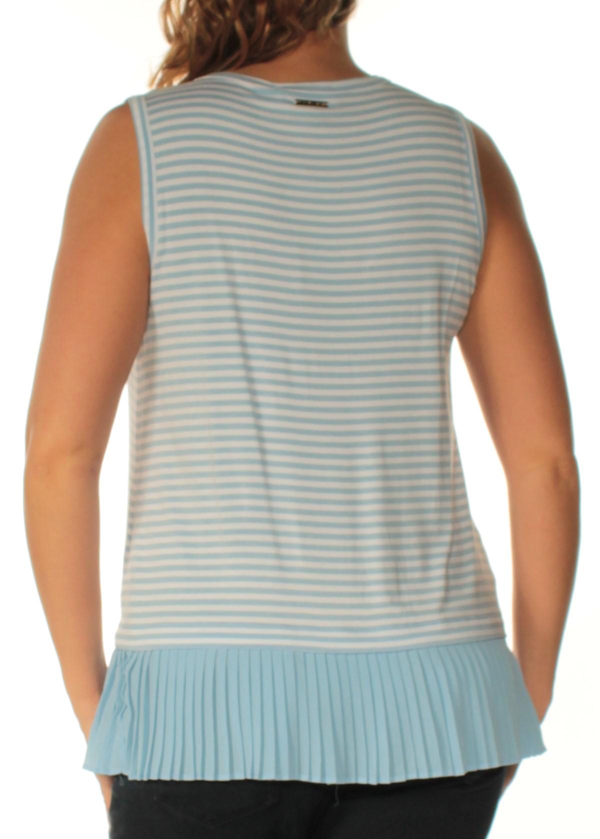7059341a1f2763 MICHAEL KORS  64 Womens New 1609 Blue White Striped Sleeveless Top L ...