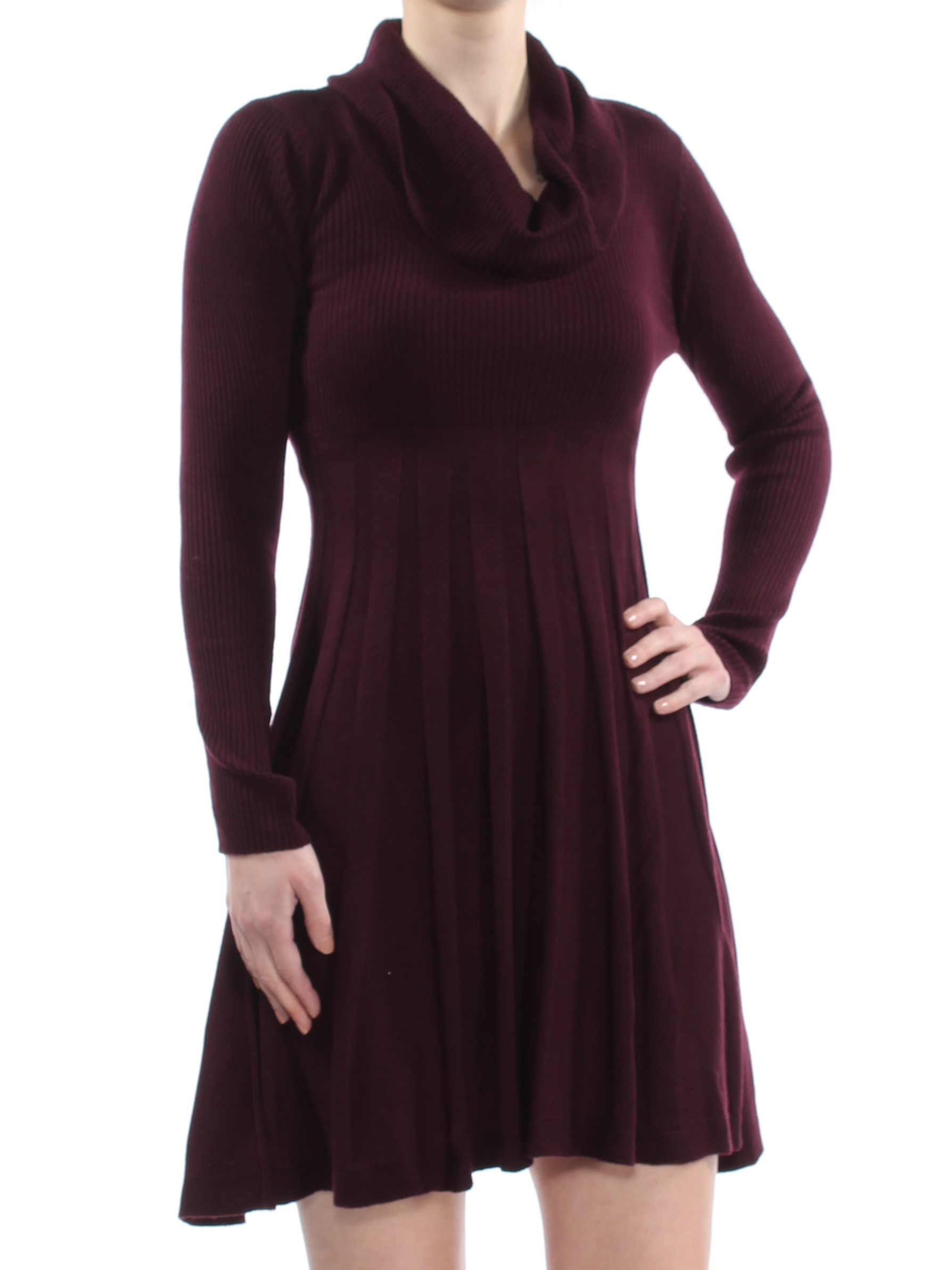 fede8a1cc2c CALVIN KLEIN  134 Womens Burgundy Cowl Neck Sweater Dress XS Petites ...