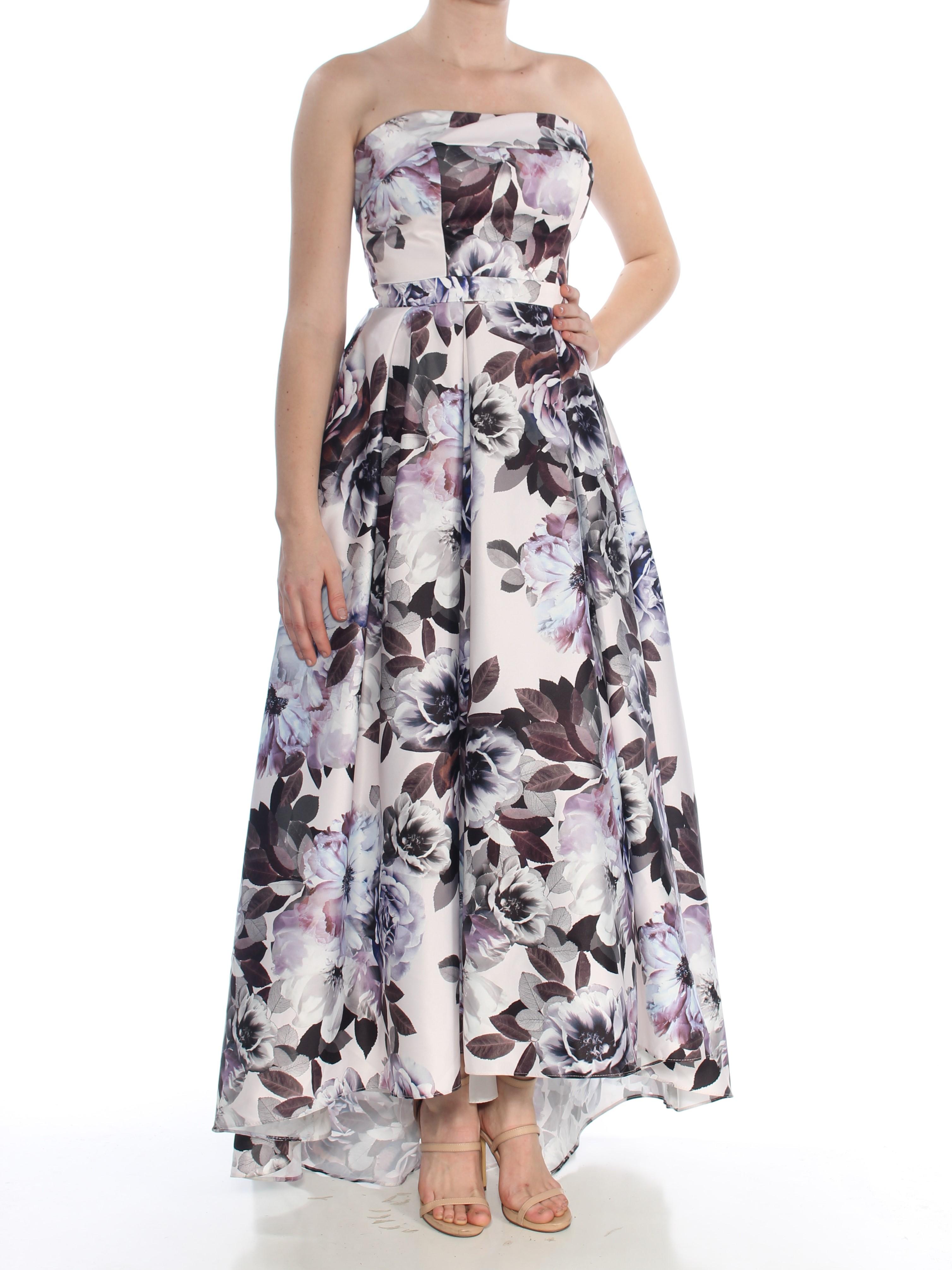 59a66b6b XSCAPE $289 Womens New 1046 Purple Floral Print Gown Strapless Hi-Lo Dress  6 B+B