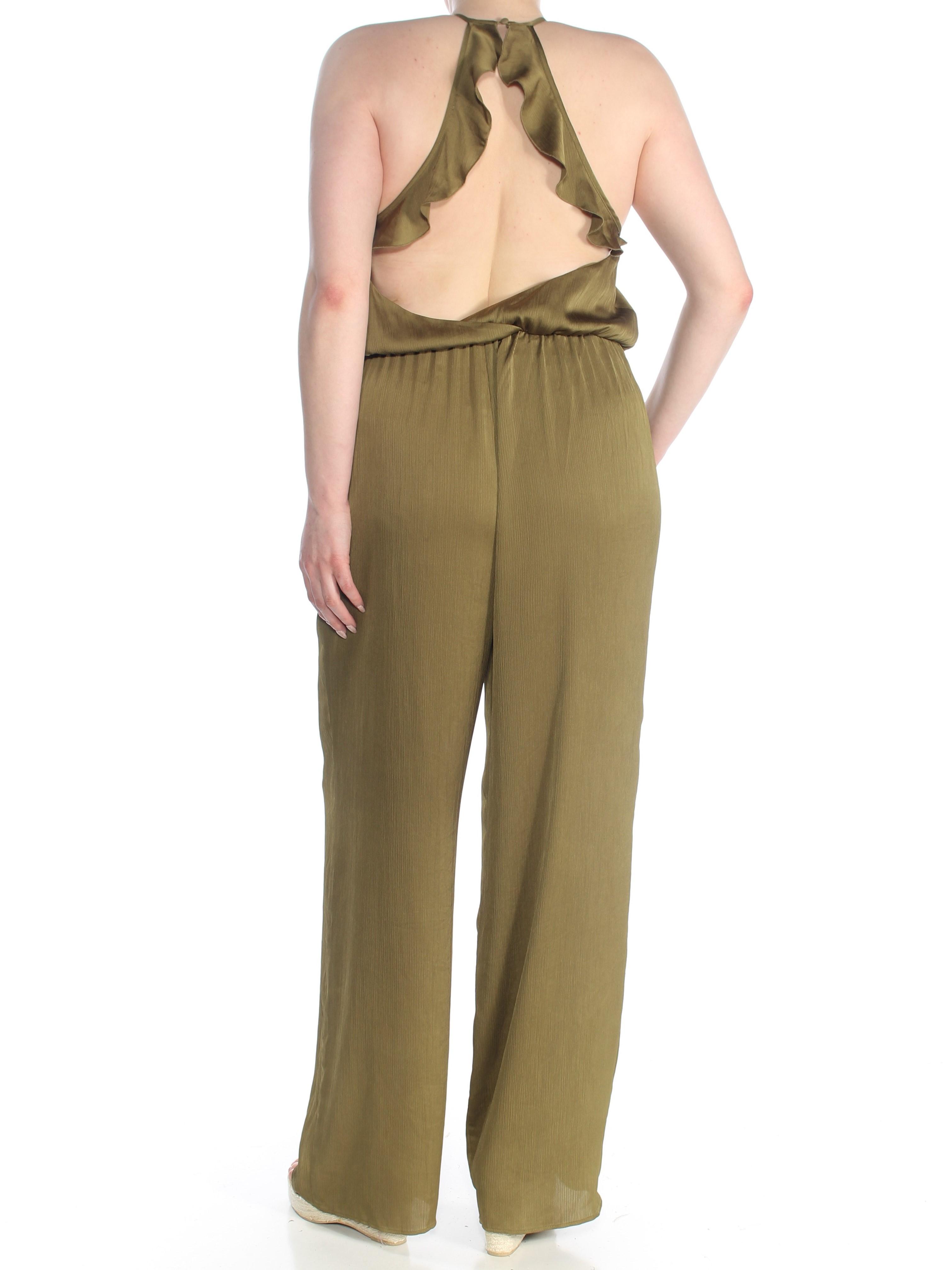 GUESS $108 Womens New 1672 Green Open Back Sleeveless Halter Jumpsuit XL B+B