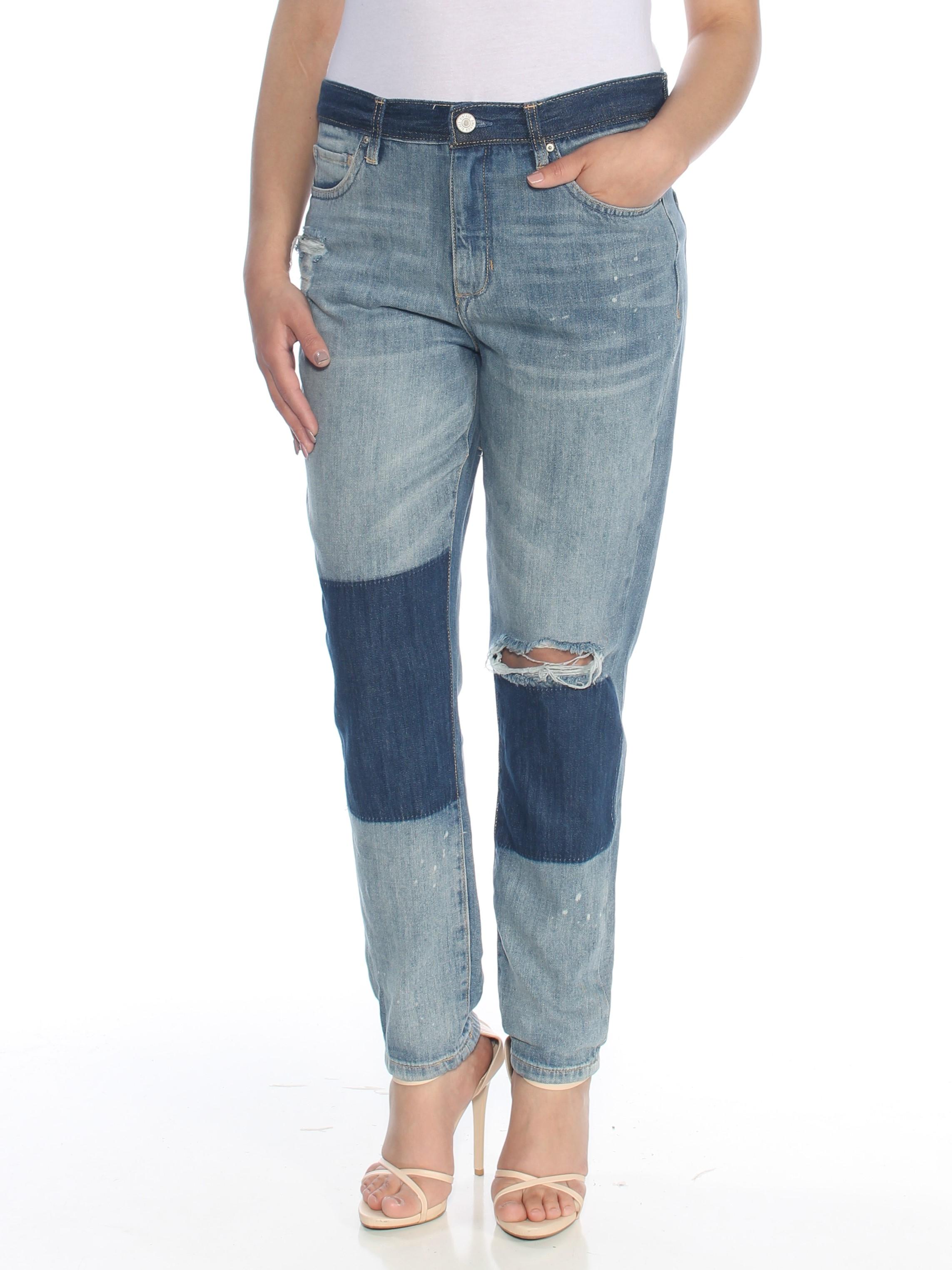 97f51553ec VINTAGE AMERICA BLUES $79 Womens Blue Patched Frayed Straight leg Jeans 4  B+B