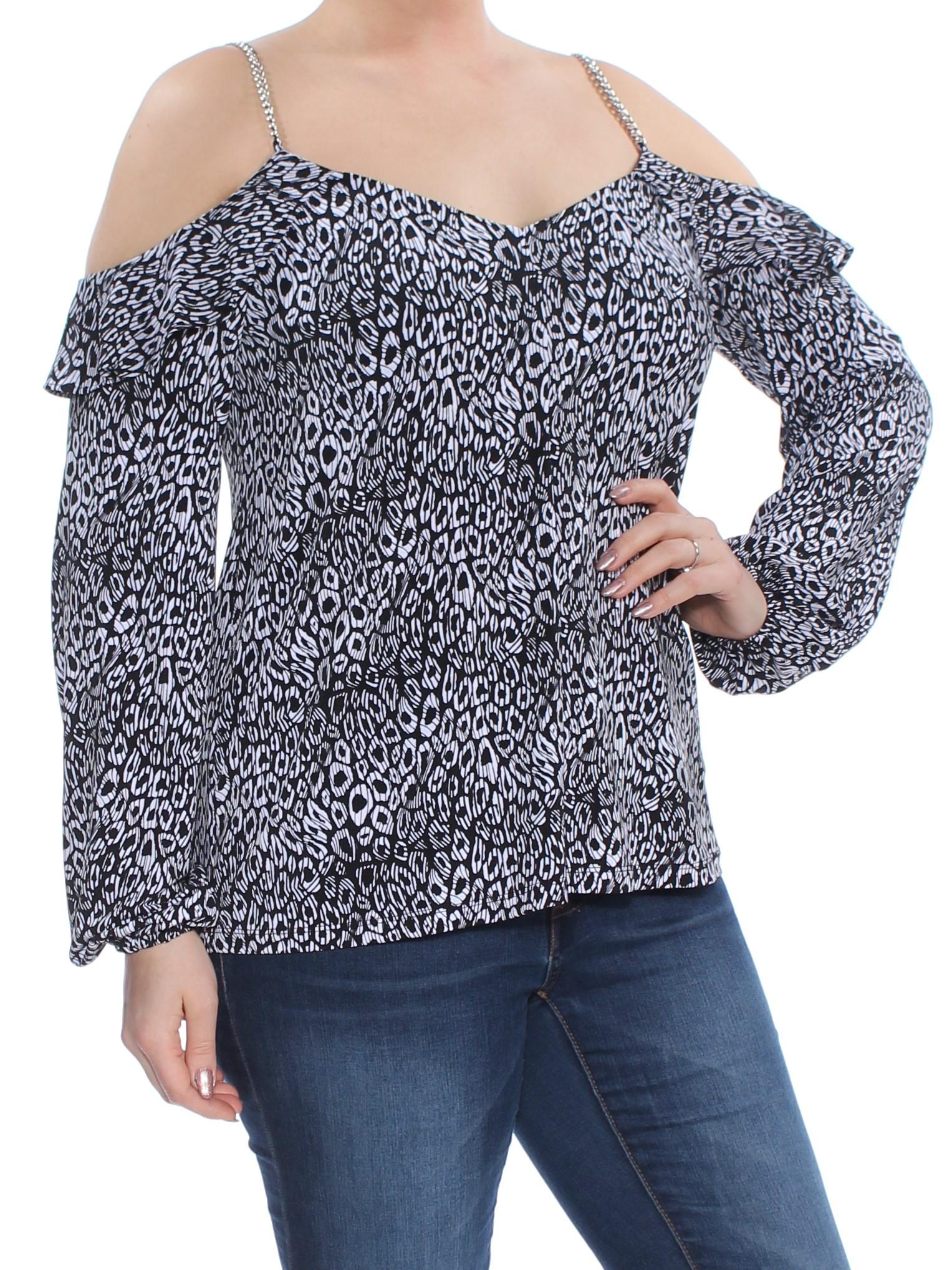 a8f2ec1cca000a MICHAEL KORS  78 Womens Black Printed Chain-Link Cold Shoulder ...