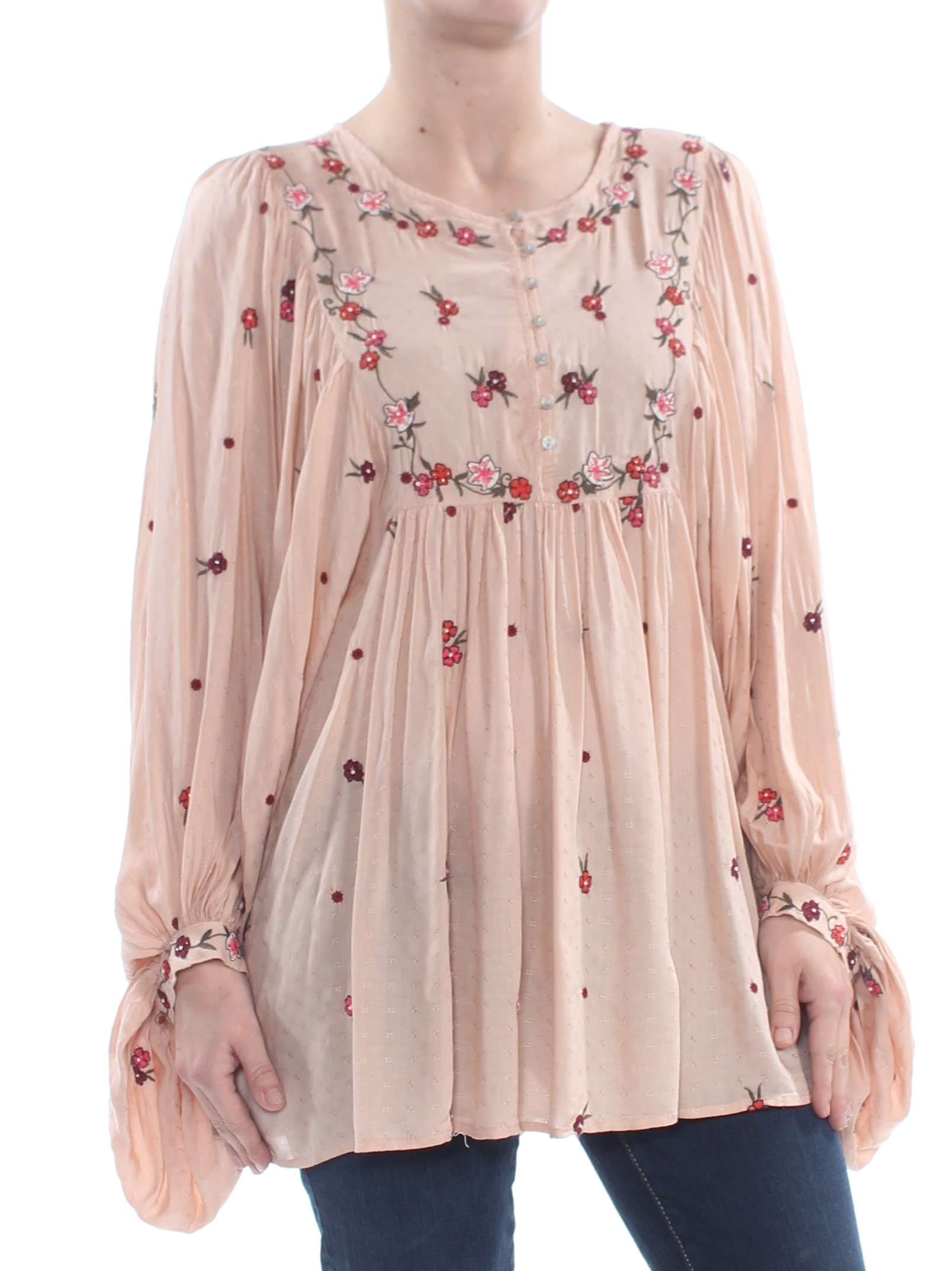 67dd29137d170e FREE PEOPLE $148 Womens New 1228 Beige Kiss From A Rose Long Sleeve Top XS B