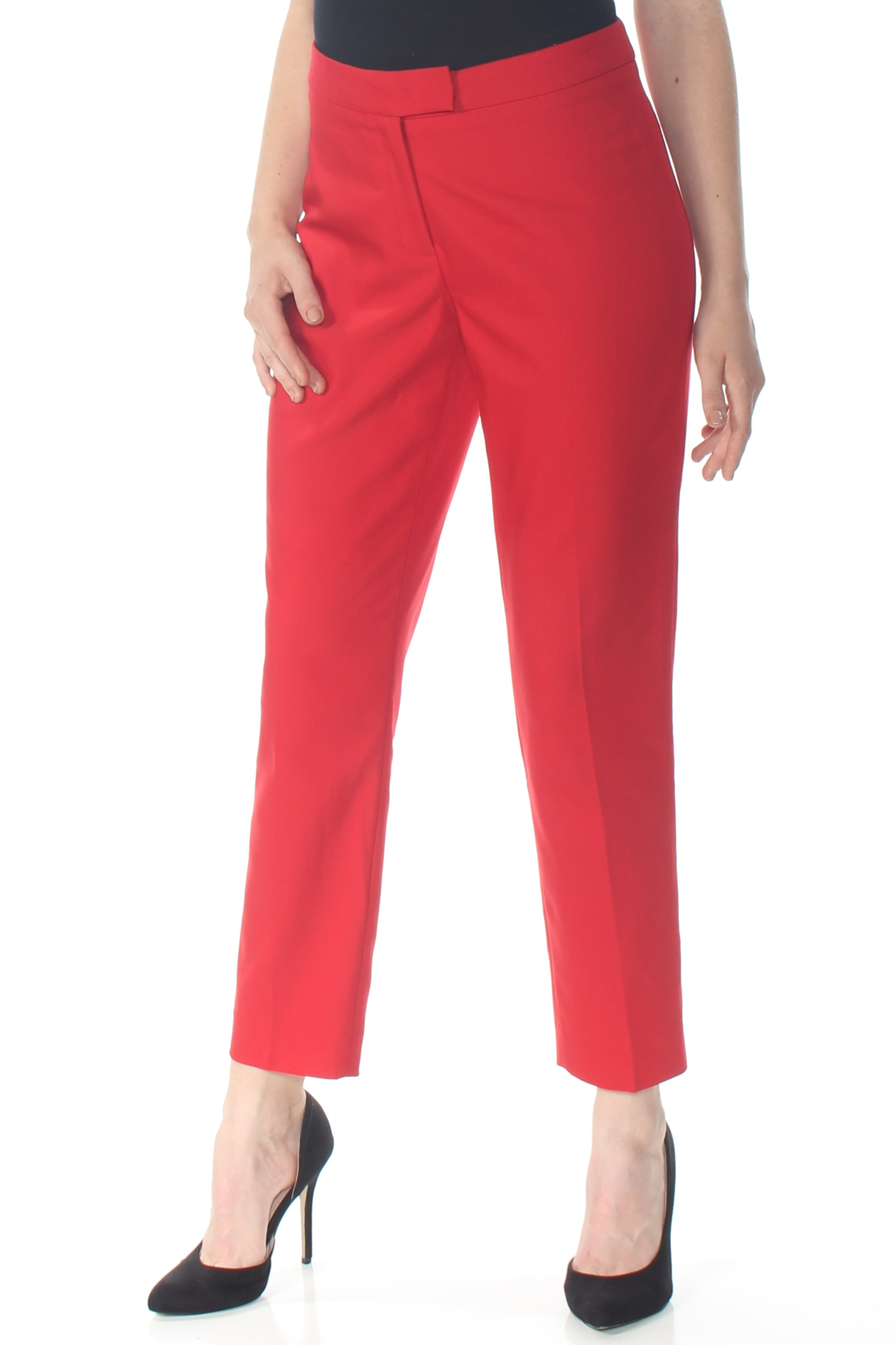 f4c1cbb9206bf Details about ANNE KLEIN $89 Womens New 1311 Red Slim Straight Leg Crepe  Pants 8 B+B