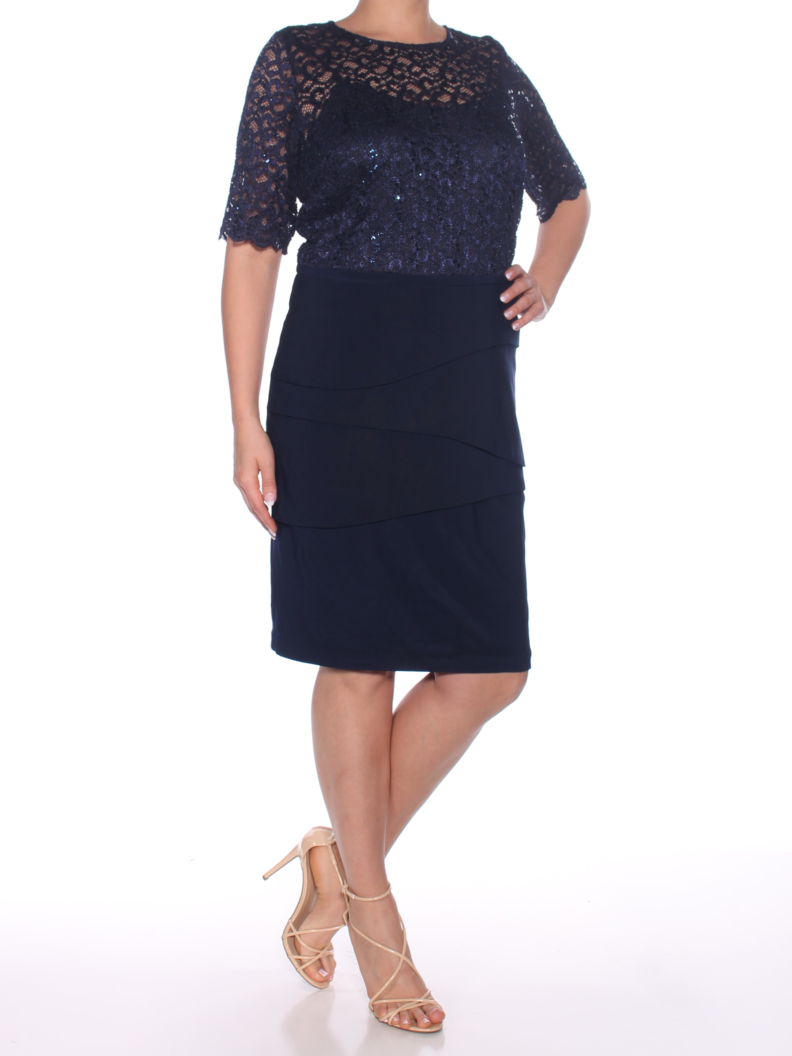 c86fc6e1d87 BETSY   ADAM  239 Womens New 0246 Navy Embellished Layered Dress 14 ...