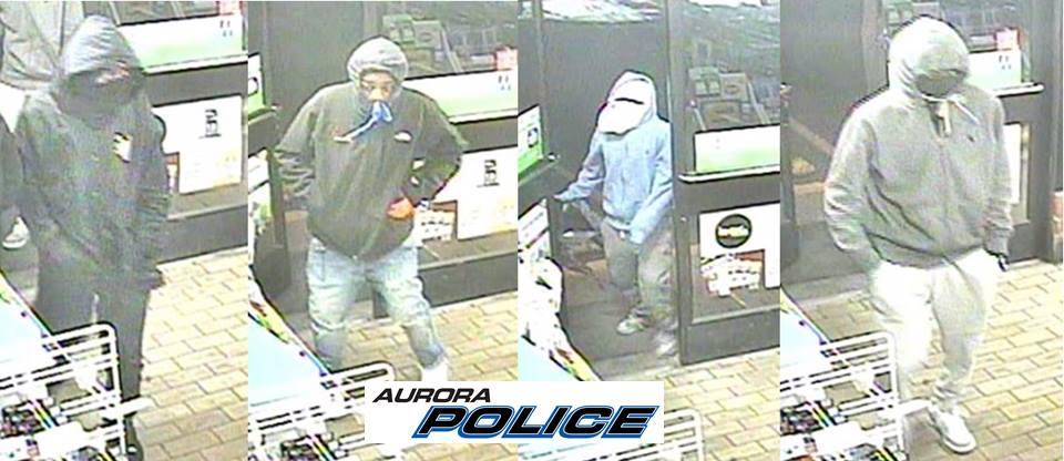 Surveillance photos of two recent 7-Eleven robberies. Photo courtesy Aurora police.