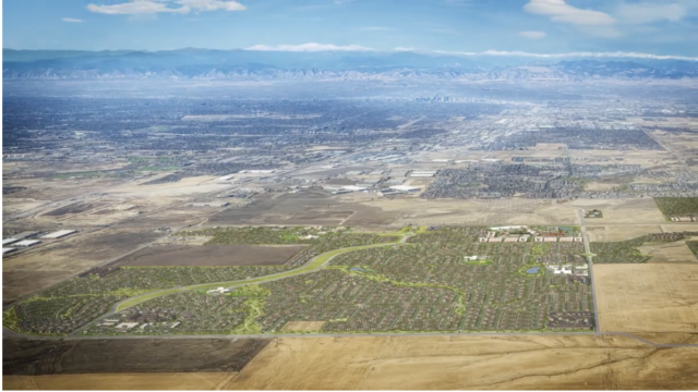 A rendering of the proposed Aurora Highlands development south of DIA. This image is a screenshot of a video provided courtesy of Amy Larson and COHN Marketing.