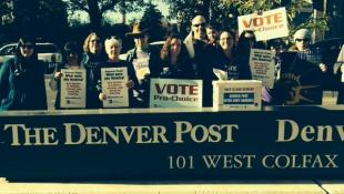 NARAL and MoveOn.org protesters at the Denver Post building Oct. 28. Photo from Twitter/NARAL