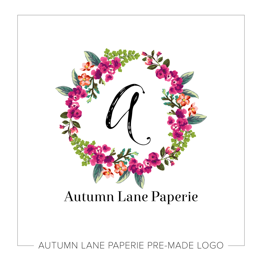 watercolor maroon floral wreath logo
