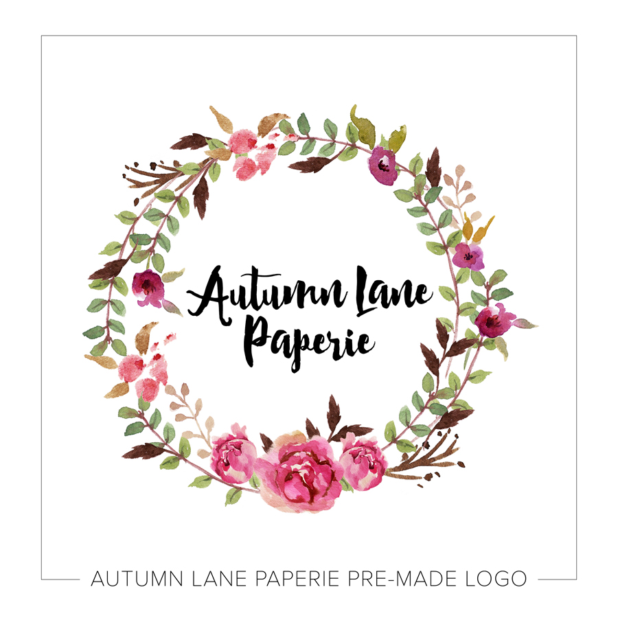 Super Pink Watercolor Floral Wreath Logo - Autumn Lane Paperie JK95