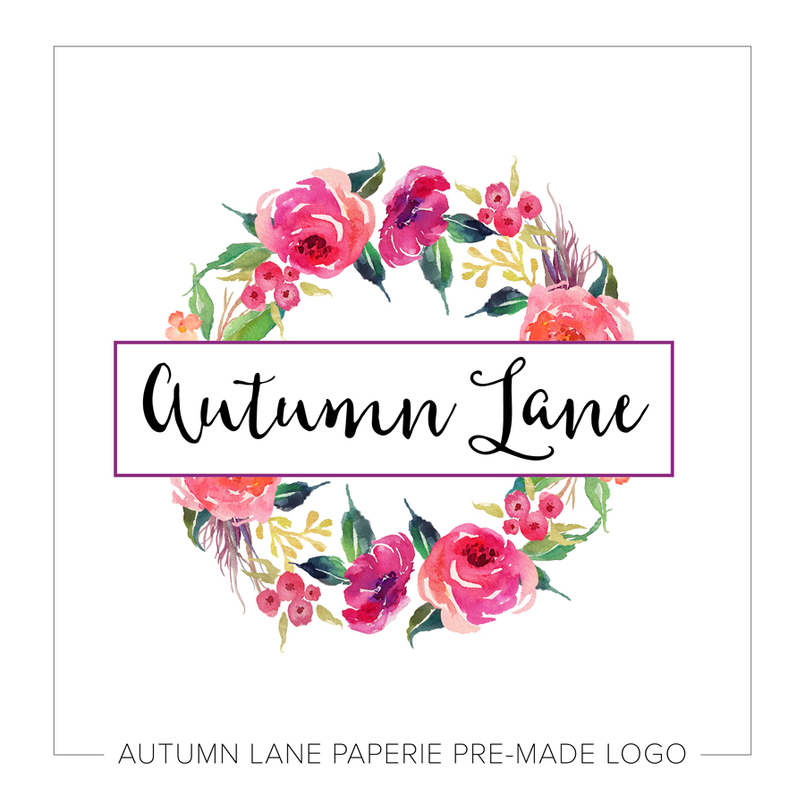 Watercolor Floral Wreath Logo Business Logo Design