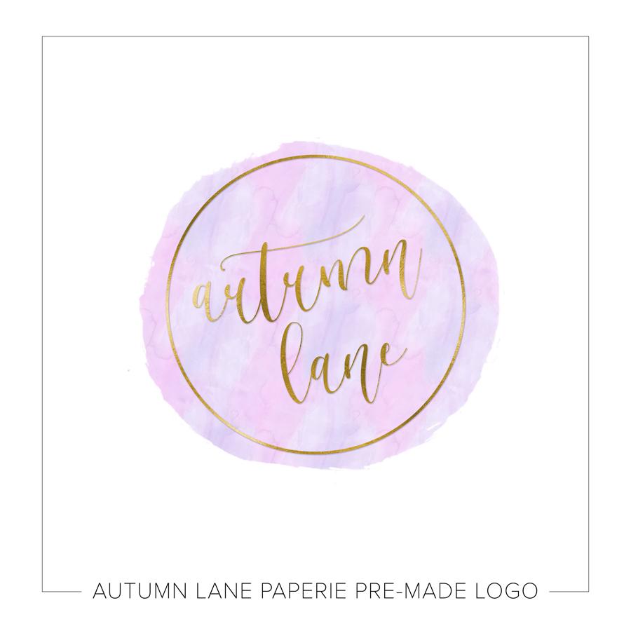 Pink Watercolor Gold Circle Logo