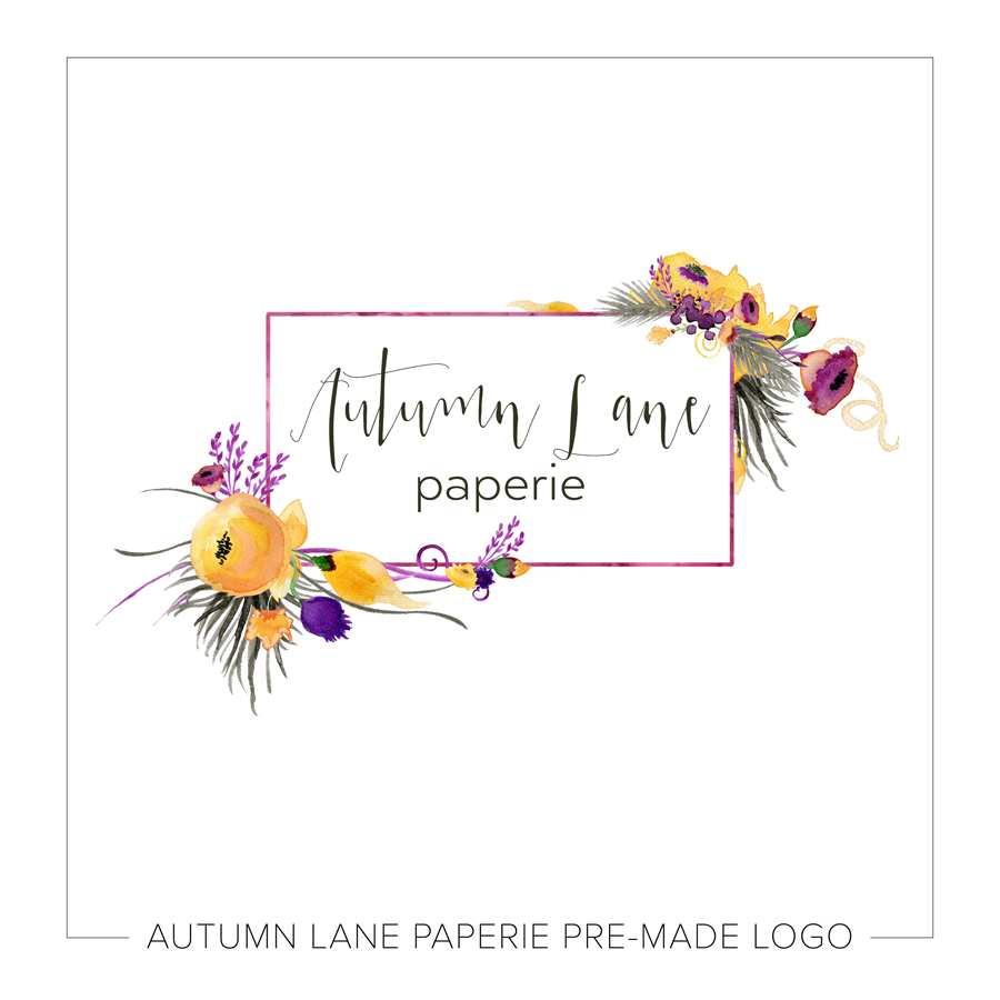 Rectangle Logo With Yellow Watercolor Florals