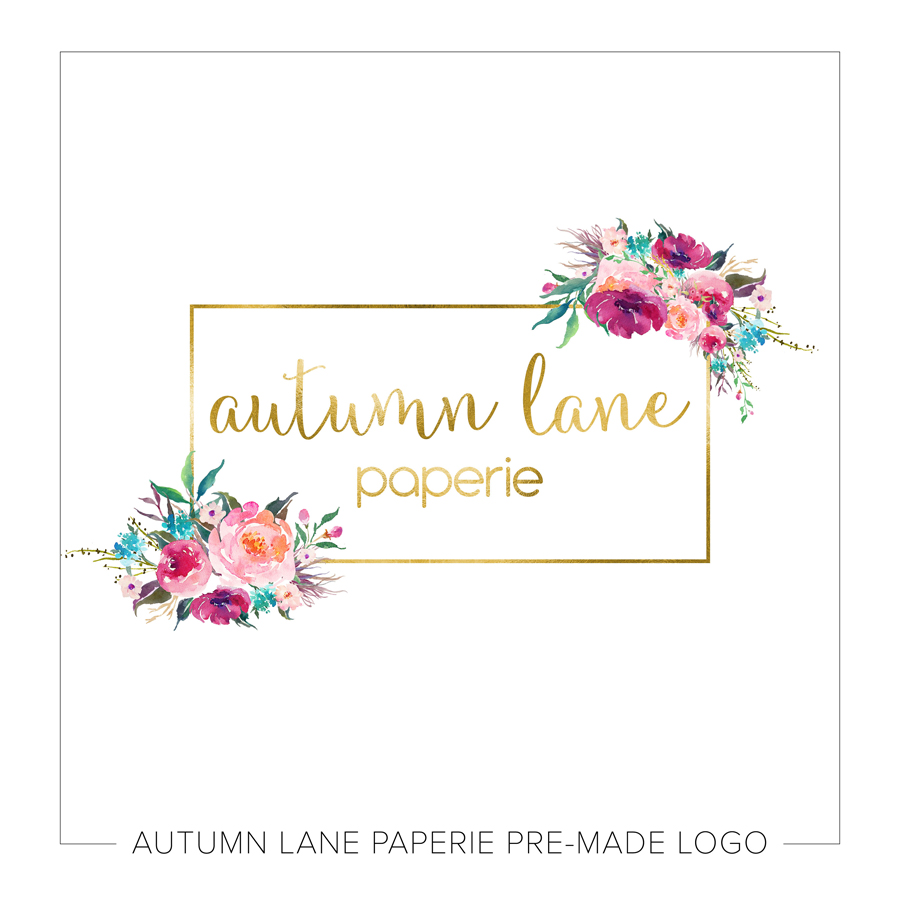 Watercolor Flowers with Gold Foil Rectangle Logo