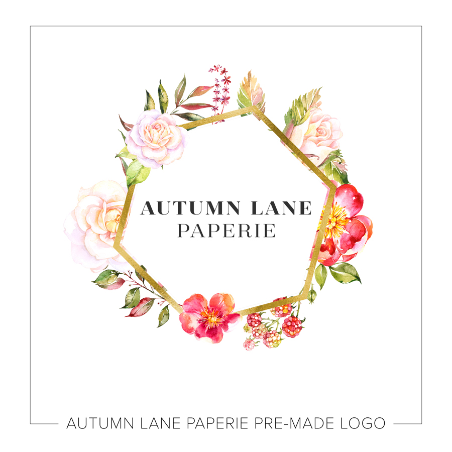 Gold Foil Hexagonal Logo with Watercolor Flowers - Autumn ...