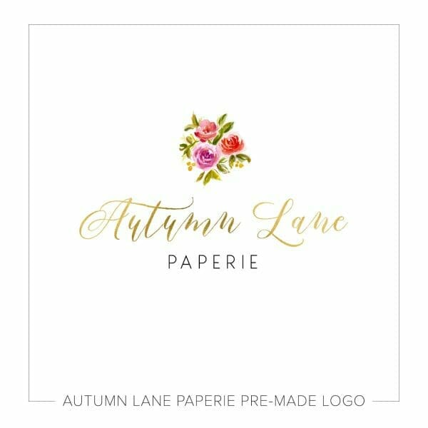 Autumn Lane Paperie Foil Brush Script Logo with Watercolor Bouquet