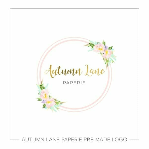 Autumn Lane Paperie Pink Circle with Foil Calligraphy Logo