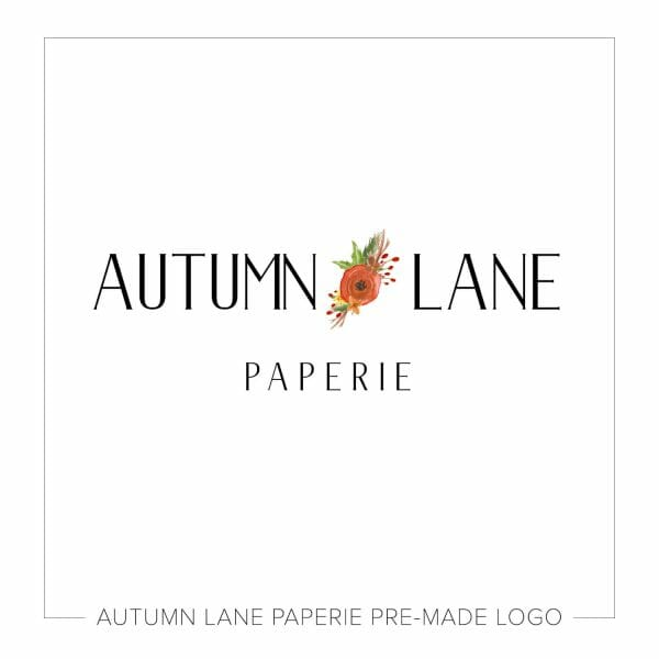 Autumn Lane Paperie Bold Text Logo with Orange Floral Spray