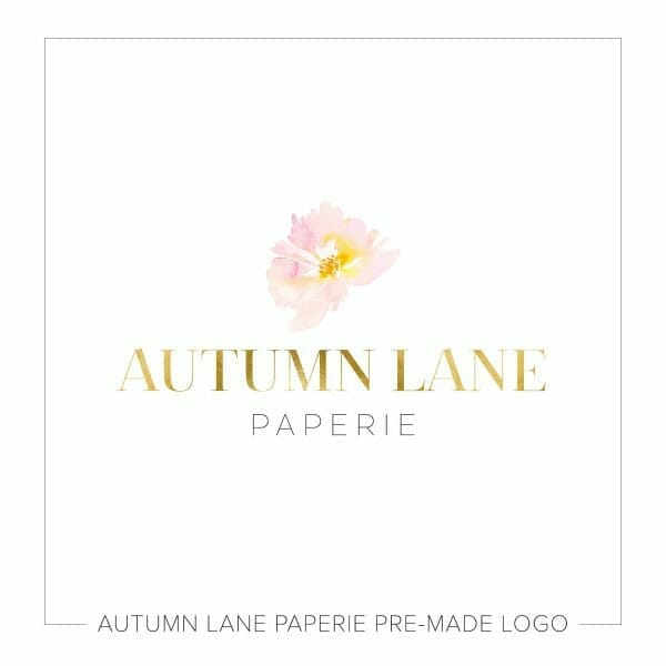 Autumn Lane Paperie Soft Pink Watercolor Flower Logo