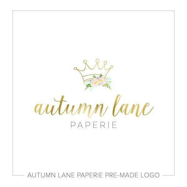 Autumn Lane Paperie Crown & Floral Logo