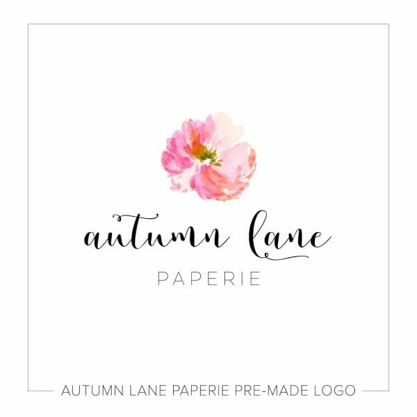 Autumn Lane Paperie Modern Calligraphy Logo with Pink Watercolor Flower
