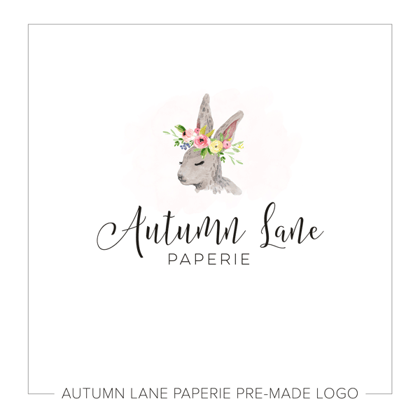 rabbit flower crown logo i29 autumn lane paperie