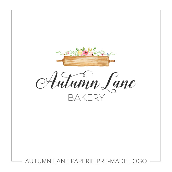 Rustic Rolling Pin Floral Logo I87