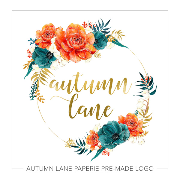 Gold Circle Logo With Floral Accents Autumn Lane Paperie