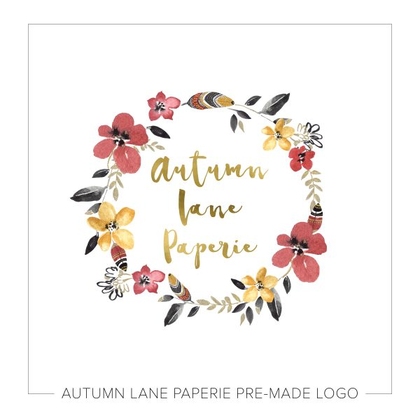 Vibrant Floral & Feather Circle Logo J12