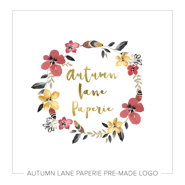 Vibrant Floral & Feather Circle Logo J12