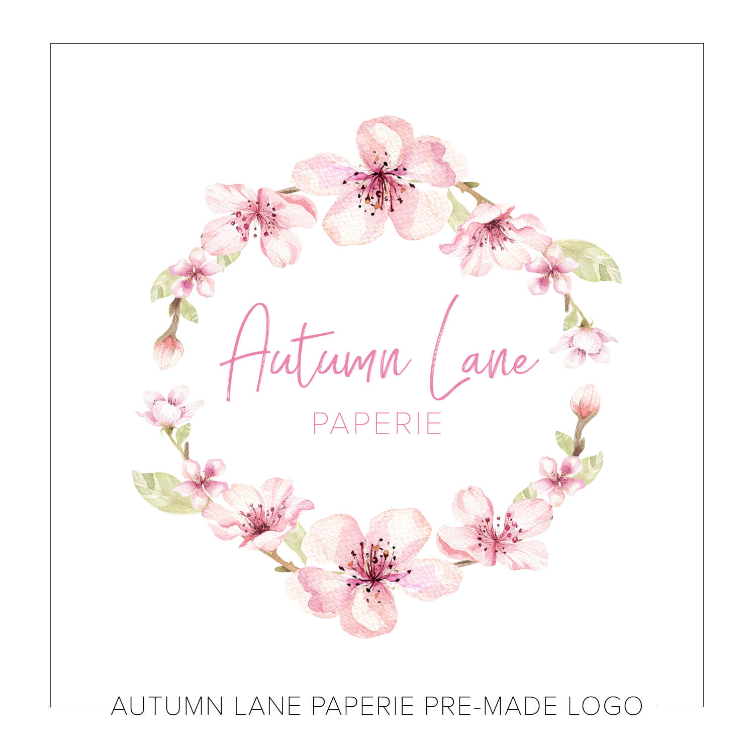 Watercolor Pink Floral Wreath Logo J53