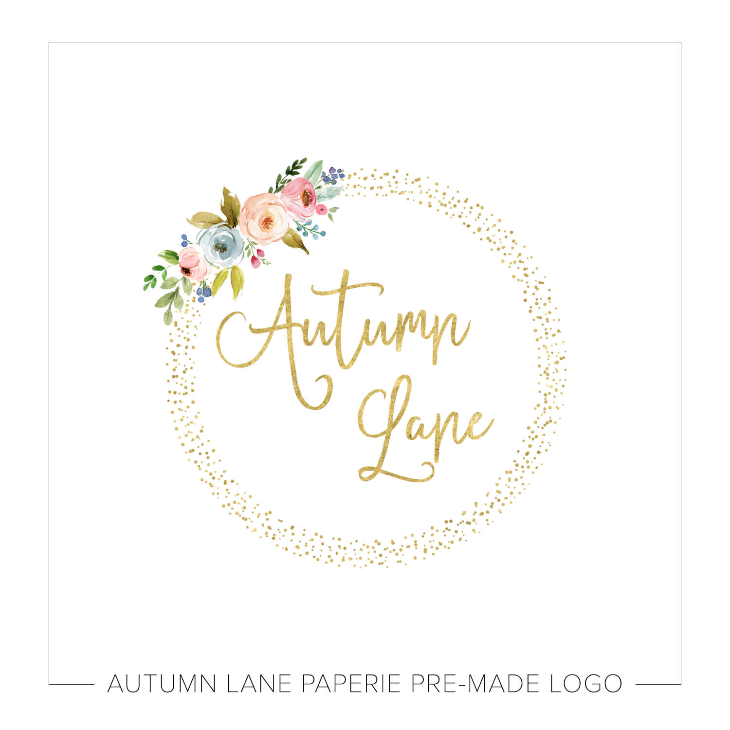 Floral & Gold Dotted Circle Logo J70