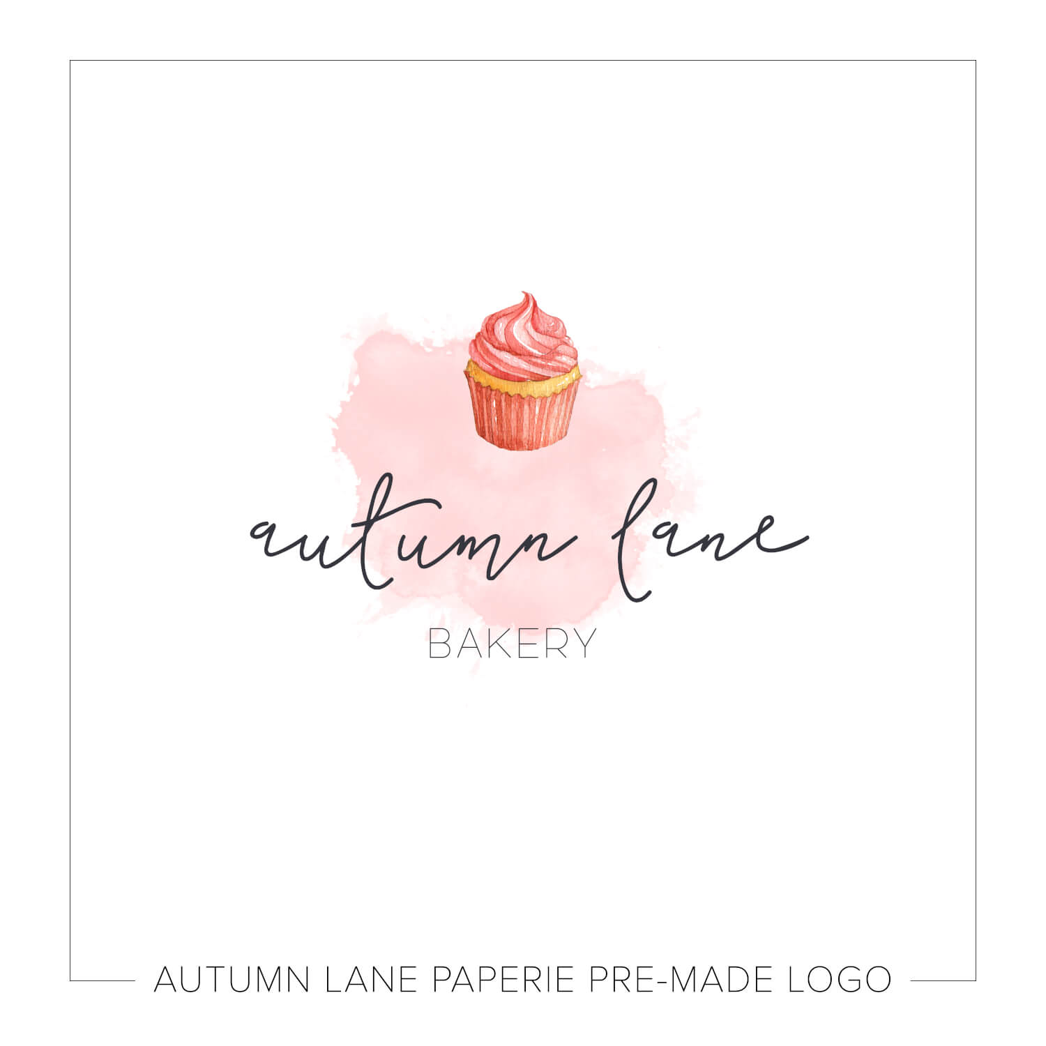 Pink Cupcake Watercolor Logo J83