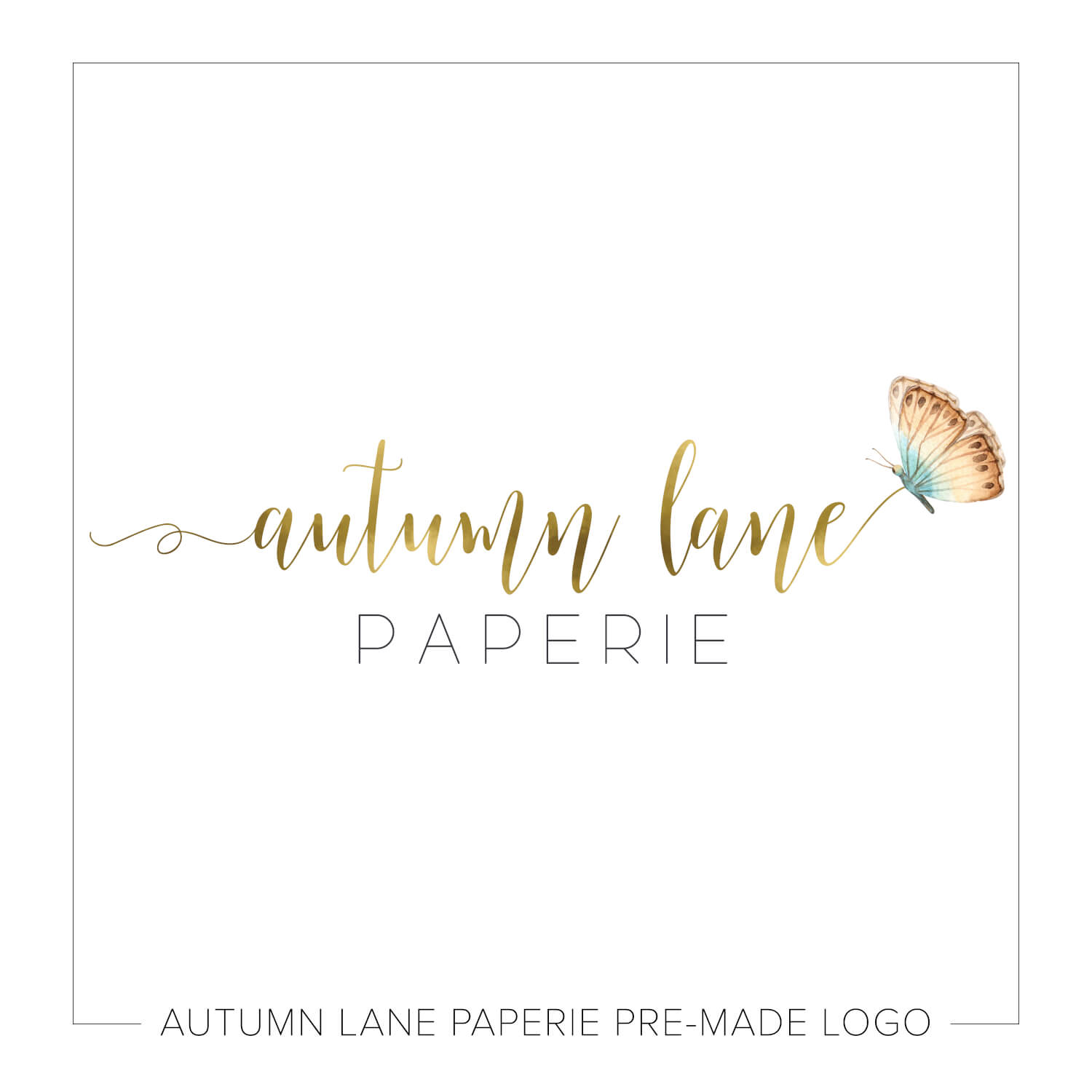 Beautiful Butterfly Gold Text Logo J87