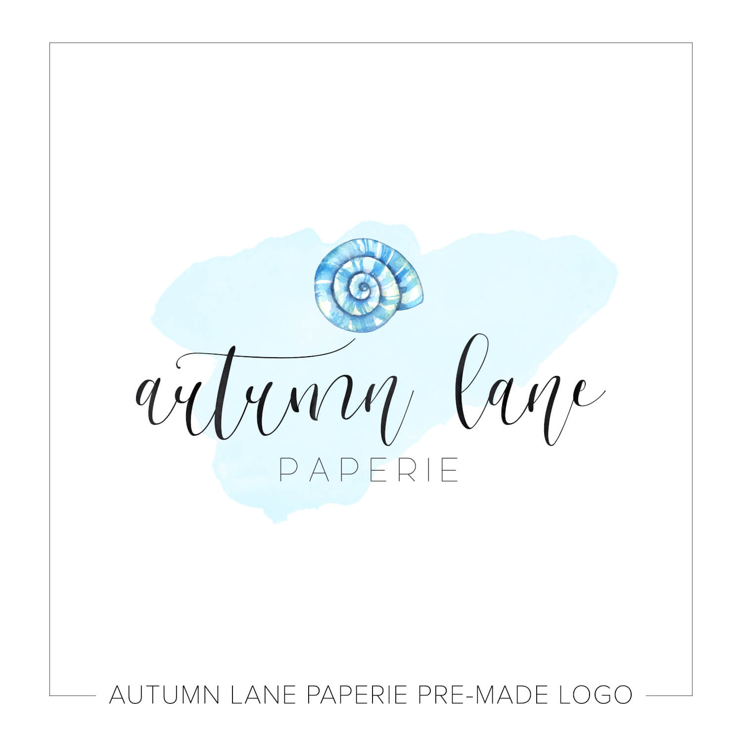Blue Watercolor Spiral Shell Logo J90