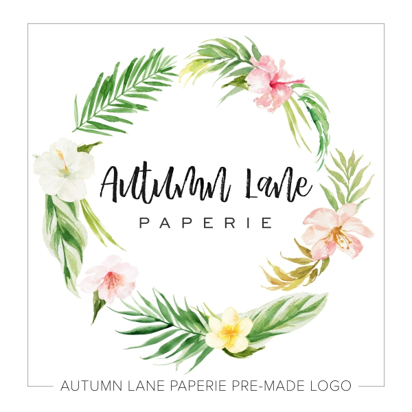Light-Hued Tropical Floral Wreath Logo K26