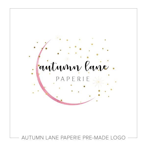 Pink & Gold Watercolor Semicircle Logo L02