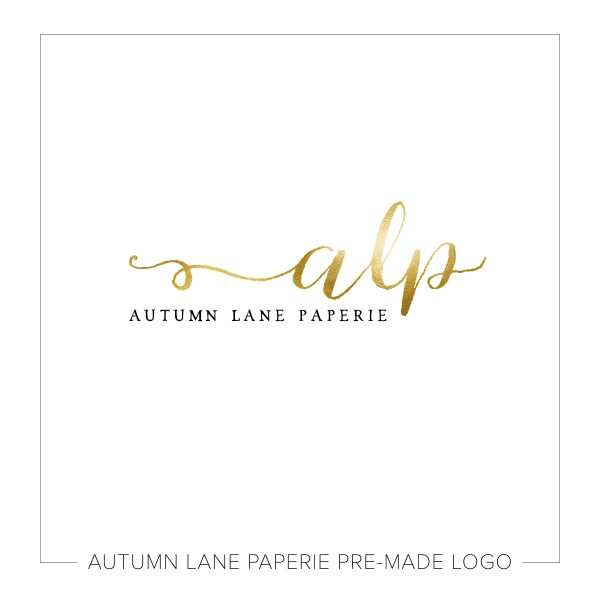 Swirling Initials Gold Text Logo L09
